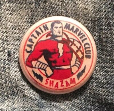 "Shazam Captain Marvel Club 1"" Button Pin Vintage Copy  Batman Superman GET3$5!"