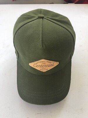 REI National Park Service Hat Cap Canvas Army Green Leather patch