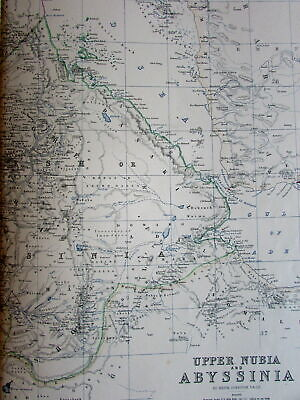 Abyssinia Africa Upper Nubia c. 1870s Johnston Blackwood large old detailed map