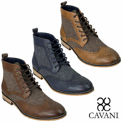 Mens Cavani Leather Peaky Blinders Tweed Brogue Lace Up Boots High Top Shoes New