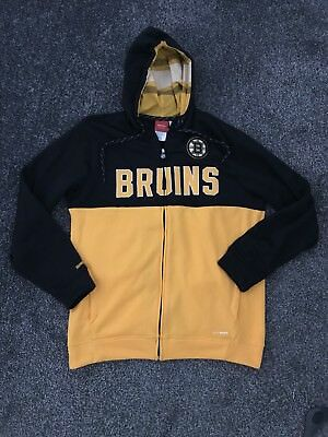 Boston Bruins Full Zip Hoodie Reebok Face Off Collection Large L NHL Ice Hockey