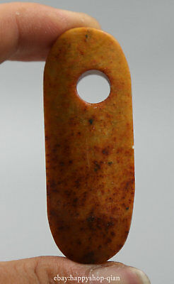 57MM Antique Collect Chinese Old Jade Hand Carving Ancient Oval Pretty Pendant