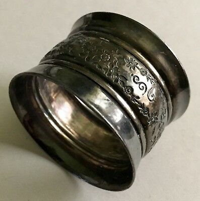 Antique Silverplate Napkin Ring With Band Of Flowers Excellent
