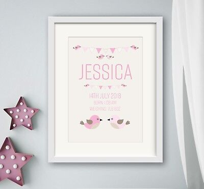 GIRL New birth Newborn Personalised baby print Christening Gift Nursery Wall Art
