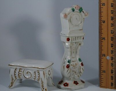VTG SET Dollhouse miniature ceramic GRANDFATHER CLOCK & FOOTSTOOL Occupied JAPAN