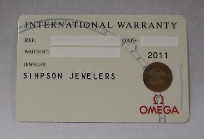OMEGA Watch White International Warranty Card with Dealer Name Source Code ONLY!