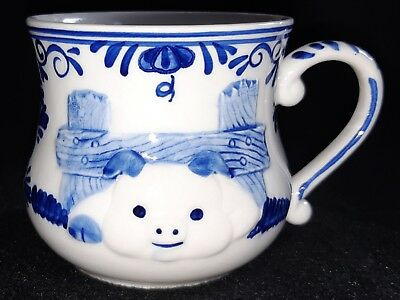 Handpainted Delft Blue Cute 3D Pig In Fence Mug 3 Inches Holland Vintage 1984