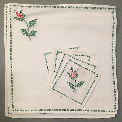 Antique Vintage FRENCH Hand-Embroidered ROSES on LINEN TABLE SET