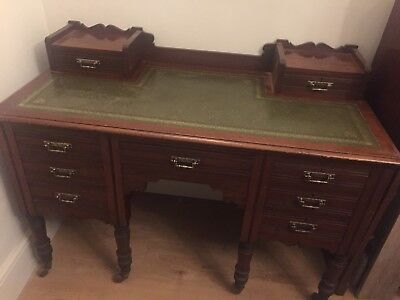 Antique Victorian/Edwardian Desk Writing Table Desk Mahogany Leather