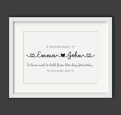 Personalised Wedding Engagement Print - Mr and Mrs - Gift / Present - Names