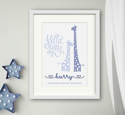 BOY New birth Newborn Personalised baby print Christening Gift Wall Art Giraffe
