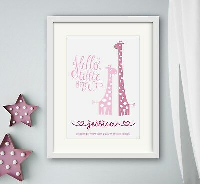 GIRL New birth Newborn Personalised baby print Christening Gift Wall Art Giraffe