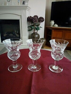 Cut Crystal Made In Scotland Sherry Glasses Set Of Three