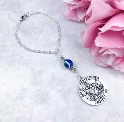 St Christopher Car Charm, Evil Eye, Rearview Mirror, Hanging Charm, Protection