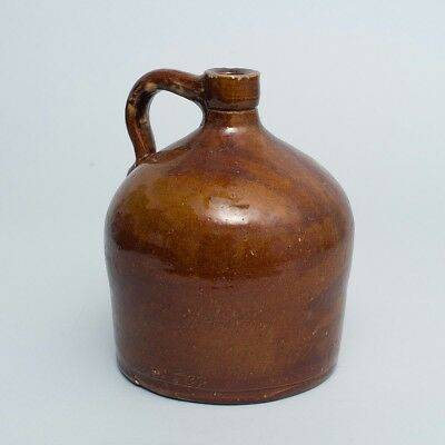 """Large Antique Pottery Stoneware Beehive Jug w/Handle Brown Glazed 'PA' 9.5"""" Tall"""