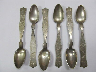 "800 Silver Vintage Set 6 Nicely Decorated Spoons 6 3/8"" V Good Cond"