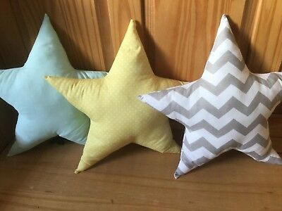 1 NURSERY STAR CUSHION grey chevron mint green hanging star new baby boy girl