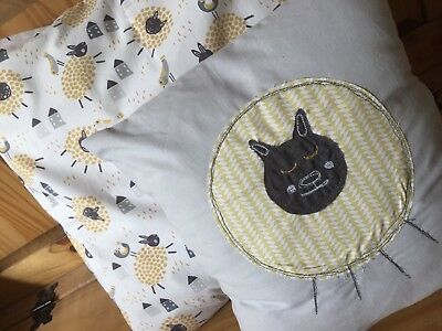 2 SET SHEEP NURSERY CUSHIONS mustard grey farmyard new baby boy girl modern gift