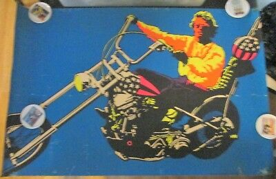 Vintage 1970 Easy Rider Film Harley Chopper Felt Black Light Poster Peter Fonda