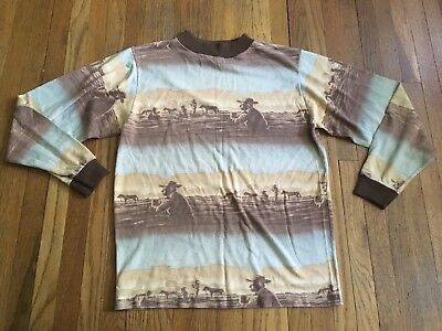 VINTAGE Donmoor 50s 60s All Over Print Western Cowboy LONG SLEEVE T-SHIRT Kids