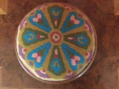 Antique Vintage Edwardian Wooden Foot Rest Stool Round arts crafts tapestry