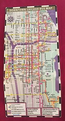 VINTAGE CHICAGO TRANSIT Authority CTA Metra Downtown Bus Map ...