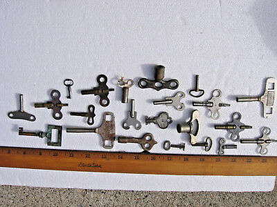 ANTIQUE/VINTAGE CLOCK KEYS AND OTHERS MIXED LOT of 22