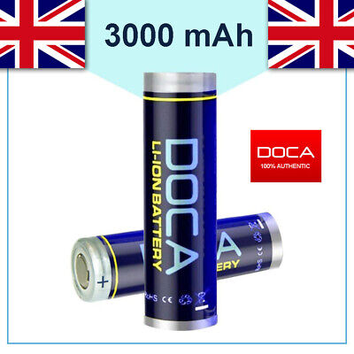 2 x DOCA® 18650 3000mAh 3.7V Rechargeable Flat Top Battery Free Case UK