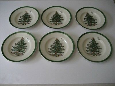 """Spode Christmas Tree 6 1/2 """" Bread and Butter Plates Set of 6"""