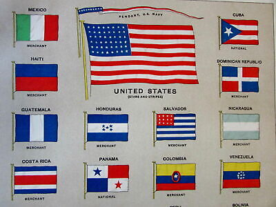Flags of America Asia Africa Corea Korea c. 1890's color chart large old print
