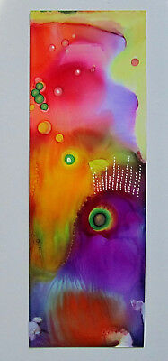 """Hand painted original BOOKMARK large 2.5x7"""" two sided bright by L Kohler"""