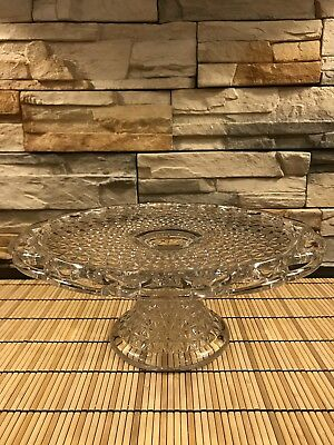 Vintage Ornate Clear Crystal Glass  CAKE STAND PLATE PLATTER