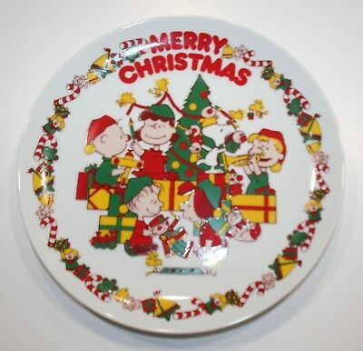vtg 50s 60s peanuts charlie brown snoopy merry christmas ceramic wall plate rare - Snoopy Merry Christmas Images