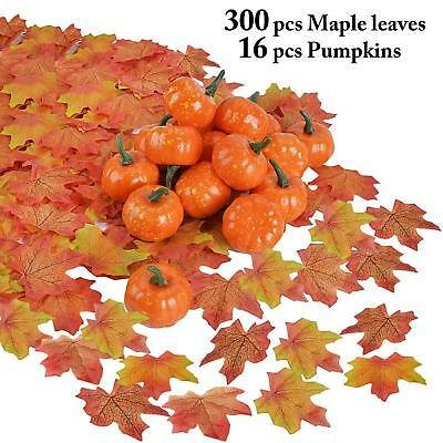 Outgeek Artificial Pumpkin and Maple Leaves 300 Pcs Maple Leaves Mixed with 16