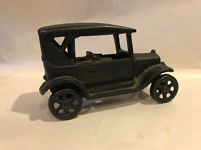 "Vtg 1920s Solid Cast Iron Toy 6"" FORD MODEL T Car Marked JM 135 Art Desk Decor"