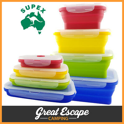 Collapsible Set of 4 Popup Rectangle Silicone Containers with Steam Valve