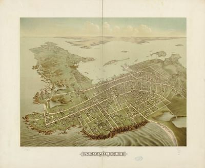 "HP 18"" x 24"" 1878 Map Of Newport Rhode Island"