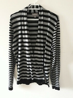 Sussans Medium Black Grey Stripe Faux Wrap Jumper