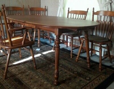 Hard Rock Maple and Six chairs, Tell City Dining Room Table, 2 Captains+ 4