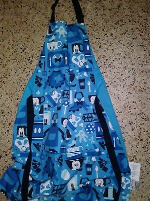 DISNEY Parks MICKEY MOUSE and FRIENDS Apron ADULT Blue New With Tags