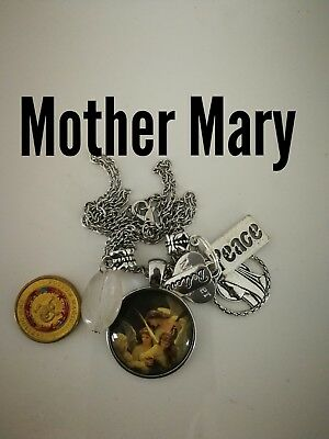 Code 406 Mother Mary quartz infused Necklace Confirmation Communion Cabochon
