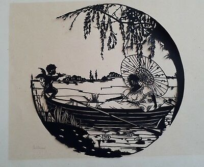 "ART DECO ! c1930s SIGNED SILHOUETTE CUT OUT ""LADY & CUPID ÄT THE LAKE"""