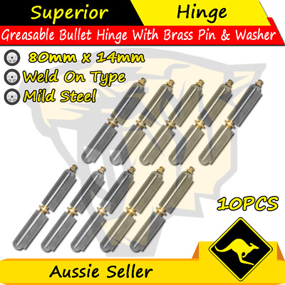 80mmx14mm Mild Steel Greasable Weld On Bullet Hinges With Brass Pin&Washer-10PCS