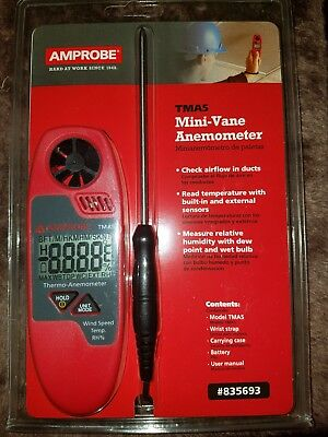 Amprobe TMA5 Mini-vane Anemometer Check Airflow In Ducts New Measure Humidity