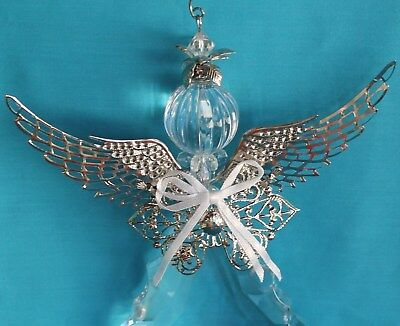 "Crystal Acrylic Angel Ornament Silver Metal Wings 9"" high Clear Faceted Body"