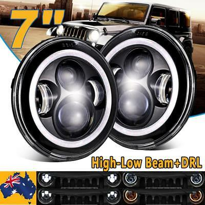 2x 7inch Round LED Headlight High Low Beam Halo Angle Eyes For Jeep Wrangler JK