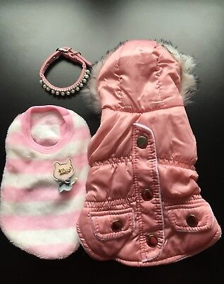 Chihuahua Clothes Gift Set Job Lot Dog Jacket Jumper Collar Puppy Girl Pink XXS