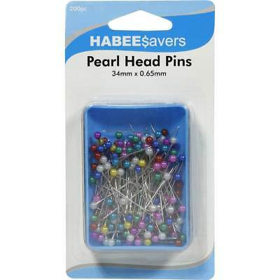 Habee $avers 200pc Multi-Color Pearl Head Pins sewing florist decorating hijab