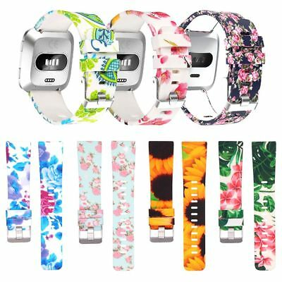 S/L Replacement Silicone Watch Strap Flower Print Wrist Band For Fitbit Versa