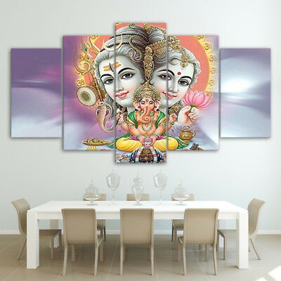 Lord Shiva Parvati Ganesha 5 Panel Canvas Print Wall Art